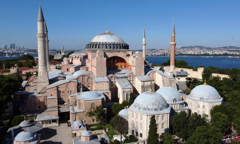 Hagia Sophia or Ayasofya, a UNESCO World Heritage Site, that was a Byzantine cathedral before being converted into a mosque which is currently a museum, is seen in Istanbul, Turkey, June 28, 2020. Picture taken June 28, 2020. Picture taken with a drone. Picture taken June 28, 2020. REUTERS/Murad Sezer
