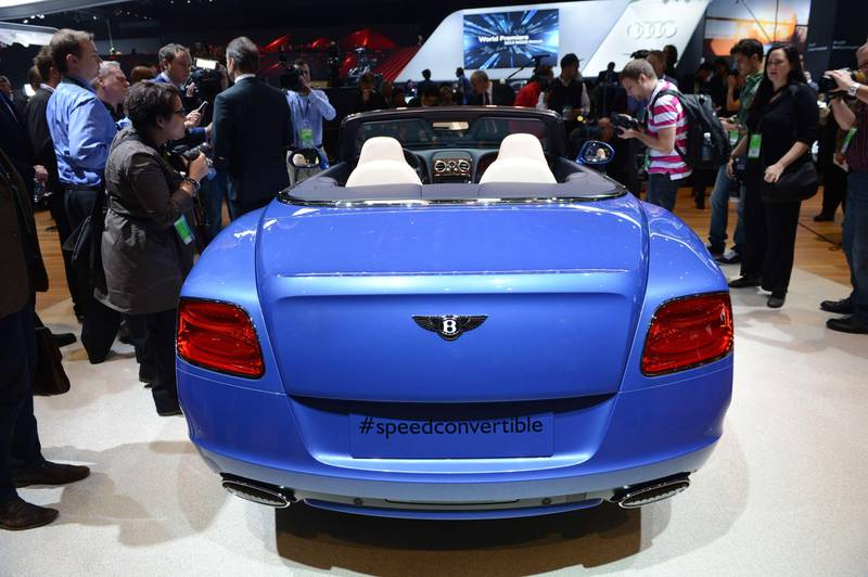 The Bentley Continental GT Speed Convertible is introduced at the 2013 North American International Auto Show in Detroit, Michigan, on January 14, 2013. AFP PHOTO/Stan HONDA  *** Local Caption ***  257859-01-08.jpg