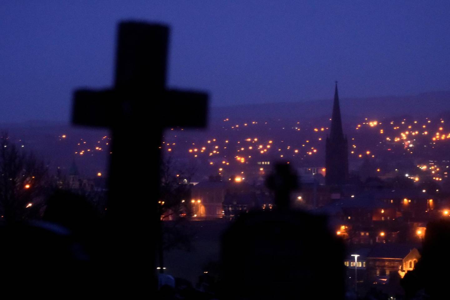 FILE PHOTO: A general view shows night falling on the city of Londonderry, Northern Ireland, January 21, 2019. REUTERS/Clodagh Kilcoyne/File Photo