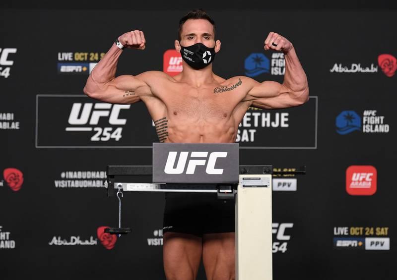 ABU DHABI, UNITED ARAB EMIRATES - OCTOBER 23: Michael Chandler poses on the scale during the UFC 254 weigh-in on October 23, 2020 on UFC Fight Island, Abu Dhabi, United Arab Emirates. (Photo by Josh Hedges/Zuffa LLC)