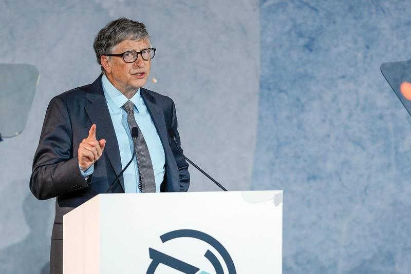 Abu Dhabi, United Arab Emirates, November 19 , 2019.  Reaching the Last Mile Forum.—Bill Gates at the forum.Victor Besa / The NationalSection:  NAReporter:  Dan Sanderson