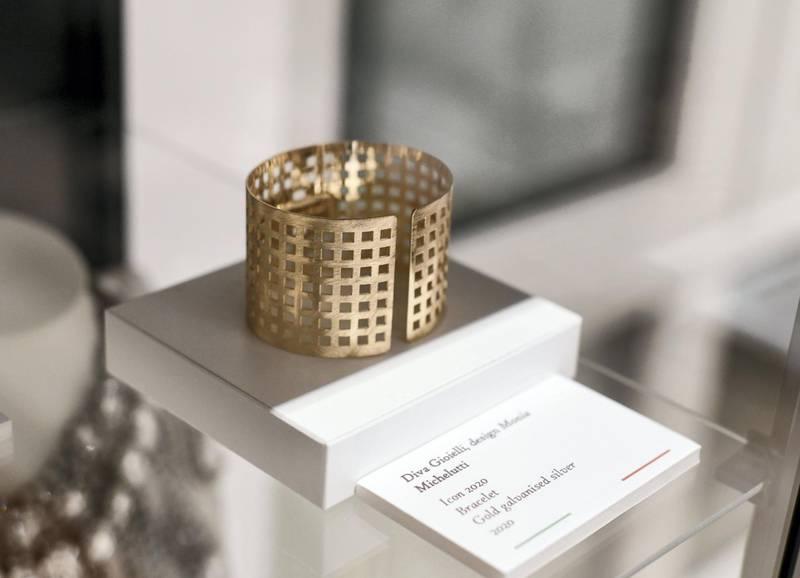 Ribbon Cutting Ceremony of DIVA-AD  ÔIconÕ bracelet made of gold galvanized silver by Diva Gioielle, design Mania Michelutti at the Italian Cultural Institute Abu Dhabi on June 22, 2021. Khushnum Bhandari/ The National Reporter: Farah Andrews Luxury/ Lifestyle