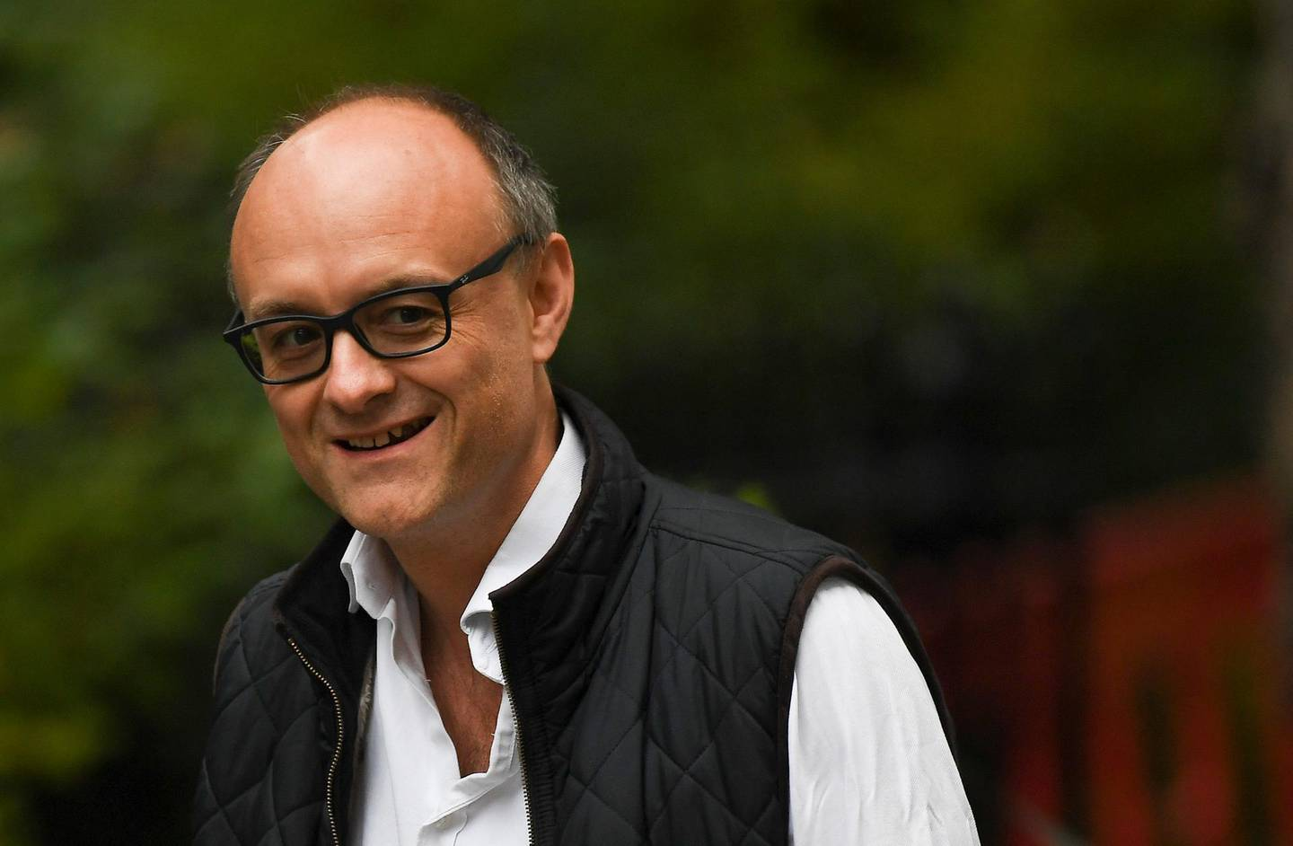 Dominic Cummings, political strategist and special adviser to British Prime Minister Boris Johnson, arrives at 10 Downing Street, in London, Tuesday, Sept. 3, 2019. Boris Johnson says he doesn't want an election and has urged legislators not to undercut Britain's negotiating position with the European Union. (AP Photo/Alberto Pezzali)
