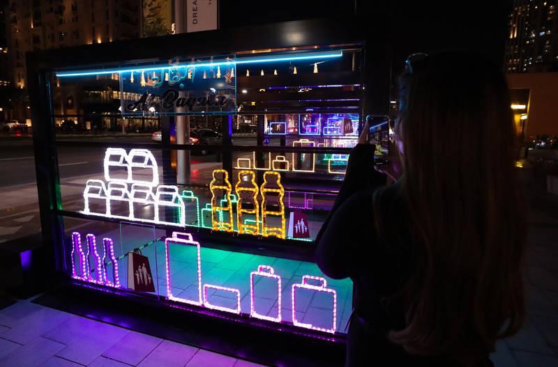 Dubai, United Arab Emirates - Reporter: N/A. News. Art. Al Hai, a series of enthralling light installations adorning Downtown Dubai Boulevard. This piece is called Al Baqala. Dubai. Thursday, January 5th, 2021. Chris Whiteoak / The National