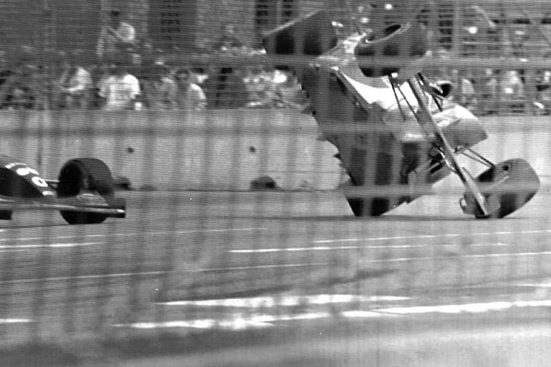 German driver Michael Schumacher is airborne on right after colliding with Damon Hill from Britain on left, at the Australian Grand Prix in Adelaide, Sunday, November 13, 1994. Both drivers were forced out of the race. (AP-Photo/Mark Brock/rmcp/- 11/13/1994 -)