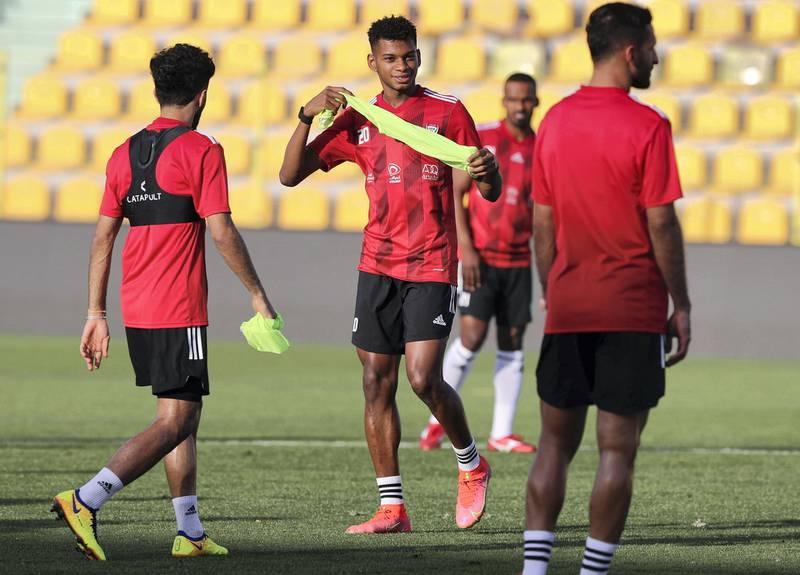 Dubai, United Arab Emirates - Reporter: John McAuley. Sport. Football. UAE player Yahya Al Ghassani during a training session at Zabeel Stadium, Dubai. Saturday, March 27th, 2021. Dubai. Chris Whiteoak / The National