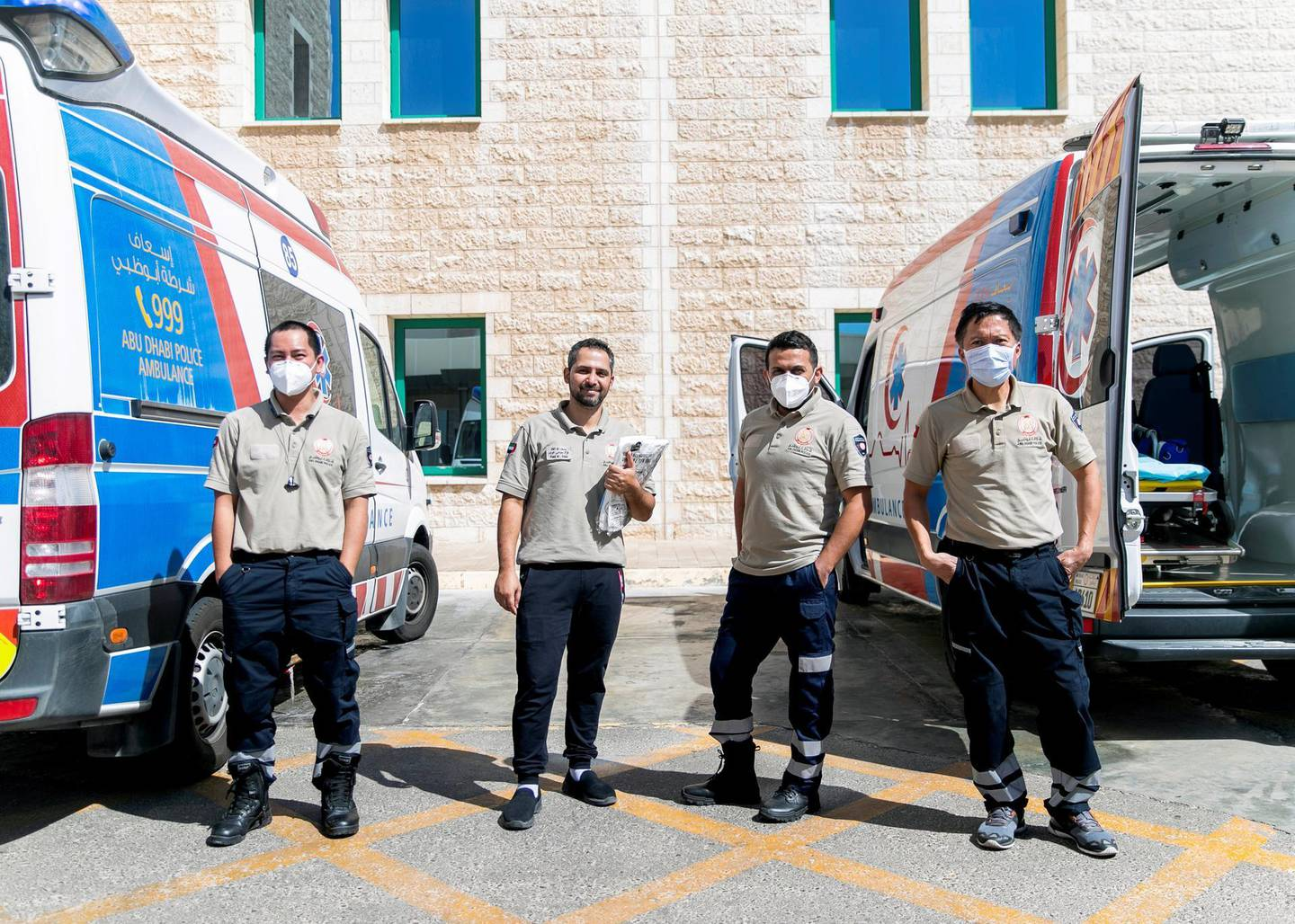 ABU DHABI, UNITED ARAB EMIRATES. MAY 2020.Heathcare workers at Sheikh Khalifa Medical City.(Photo: Reem Mohammed/The National)Reporter:Section: