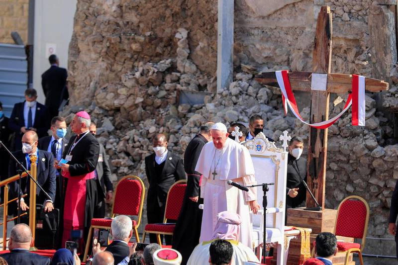 Pope Francis arrives to pray for war victims at 'Hosh al-Bieaa', Church Square, in Mosul's Old City, Iraq, March 7, 2021. REUTERS/Khalid al-Mousily