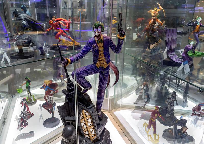 Dubai, United Arab Emirates - May 26, 2019: Photo Project. The Joker from Batman. Comicave is the WorldÕs largest pop culture superstore involved in the retail and distribution of high-end collectibles, pop-culture merchandise, apparels, novelty items, and likes. Thursday the 30th of May 2019. Dubai Outlet Mall, Dubai. Chris Whiteoak / The National