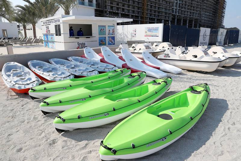 DUBAI, UNITED ARAB EMIRATES, December 10 – Boats and kayak at the water sports center at the RIU hotel on Deira Island in Dubai. (Pawan Singh / The National) For News/Lifestyle/Online/Instagram. Story by Kelly