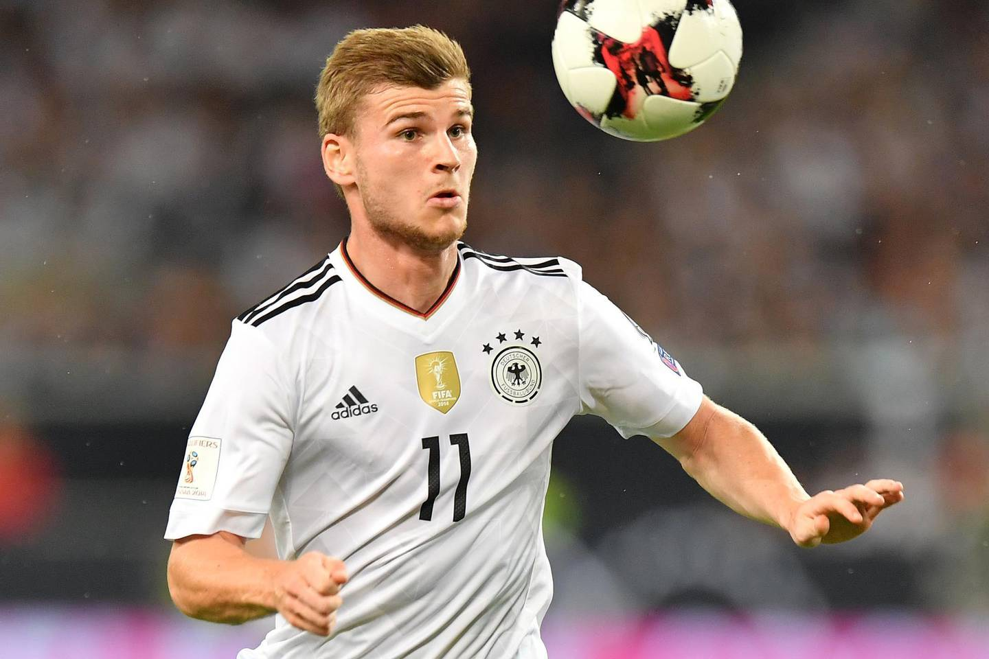STUTTGART, GERMANY - SEPTEMBER 04: Timo Werner of Germany during the FIFA 2018 World Cup Qualifier between Germany and Norway at Mercedes-Benz Arena on September 4, 2017 in Stuttgart, Baden-Wuerttemberg. (Photo by Sebastian Widmann/Bongarts/Getty Images)