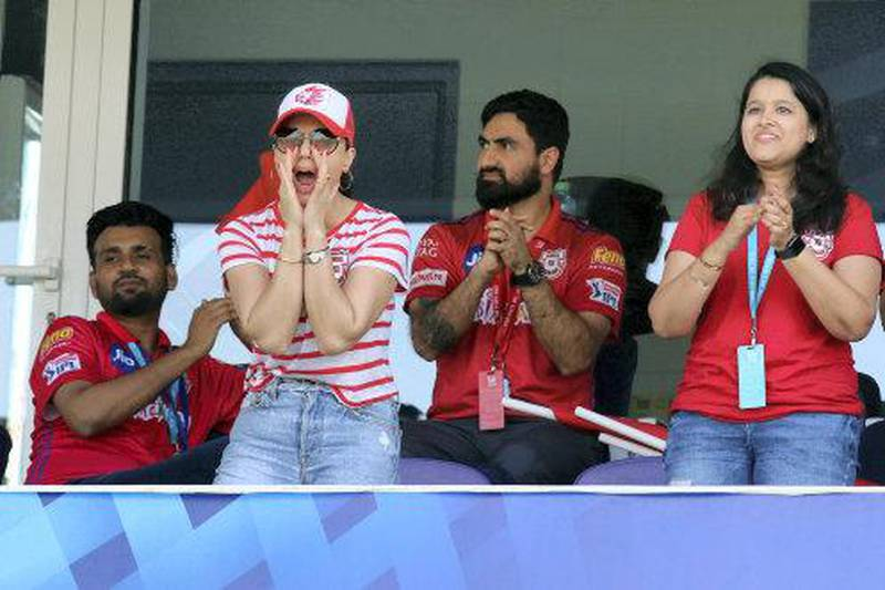 Preity Zinta owner of KXIP during match 53 of season 13 of the Dream 11 Indian Premier League (IPL) between the Chennai Super Kings and the Kings XI Punjab at the Sheikh Zayed Stadium, Abu Dhabi  in the United Arab Emirates on the 1st November 2020.  Photo by: Rahul Goyal  / Sportzpics for BCCI