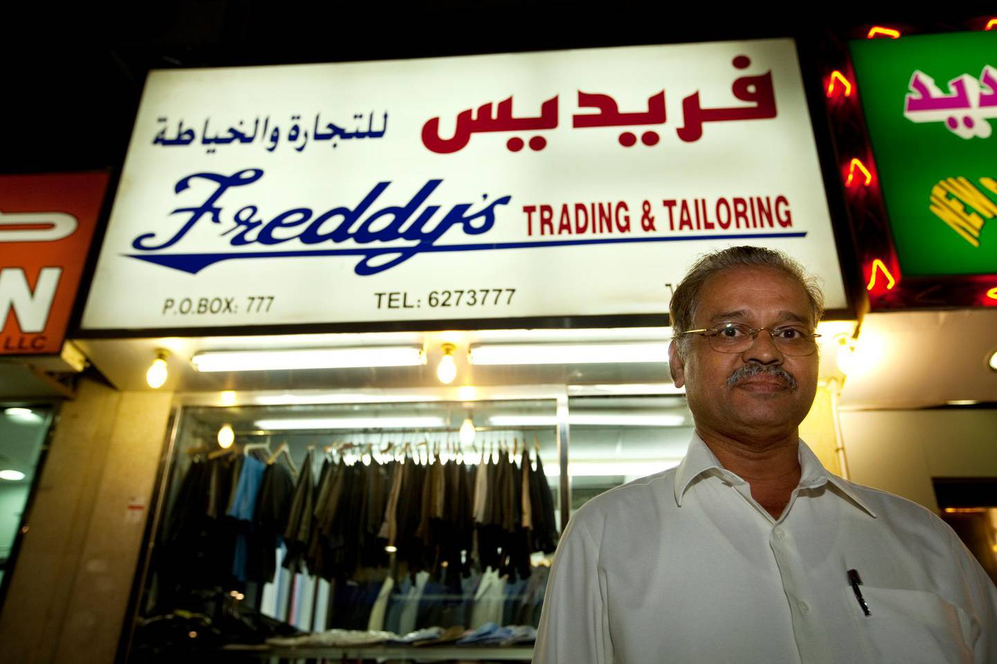 Freddy's tailoring owner Henry Sequeira in Abu Dhabi on February 7, 2012. Christopher Pike / The National