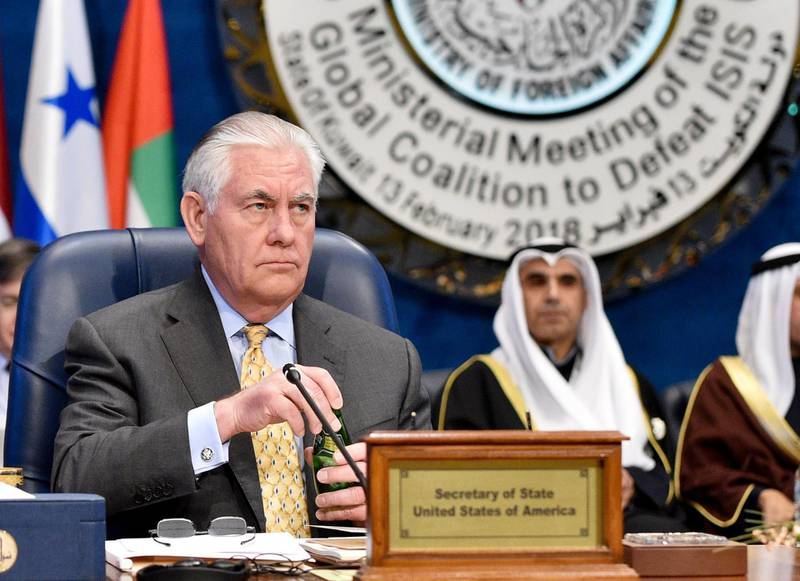 epa06520066 US Secretary of State Rex Tillerson attends the Ministerial Meeting of the Global Coalition to Defeat ISIS, the sidelines of Kuwait International Conference for the Reconstruction of Iraq, at Bayan Palace, in Kuwait City, Kuwait, 13 February 2018.  EPA/Noufal ibrahim