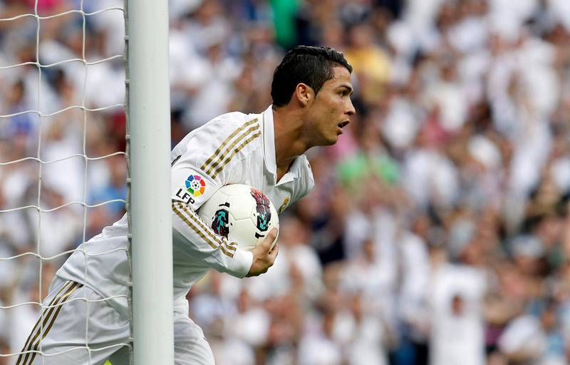 MADRID, SPAIN - MAY 13: Cristiano Ronaldo of Real Madrid holds the ball after scoring during the La Liga match between Real Madrid CF and RCD Mallorca at Estadio Santiago Bernabeu on May 13, 2012 in Madrid, Spain. (Photo by Elisa Estrada/Real Madrid via Getty Images)