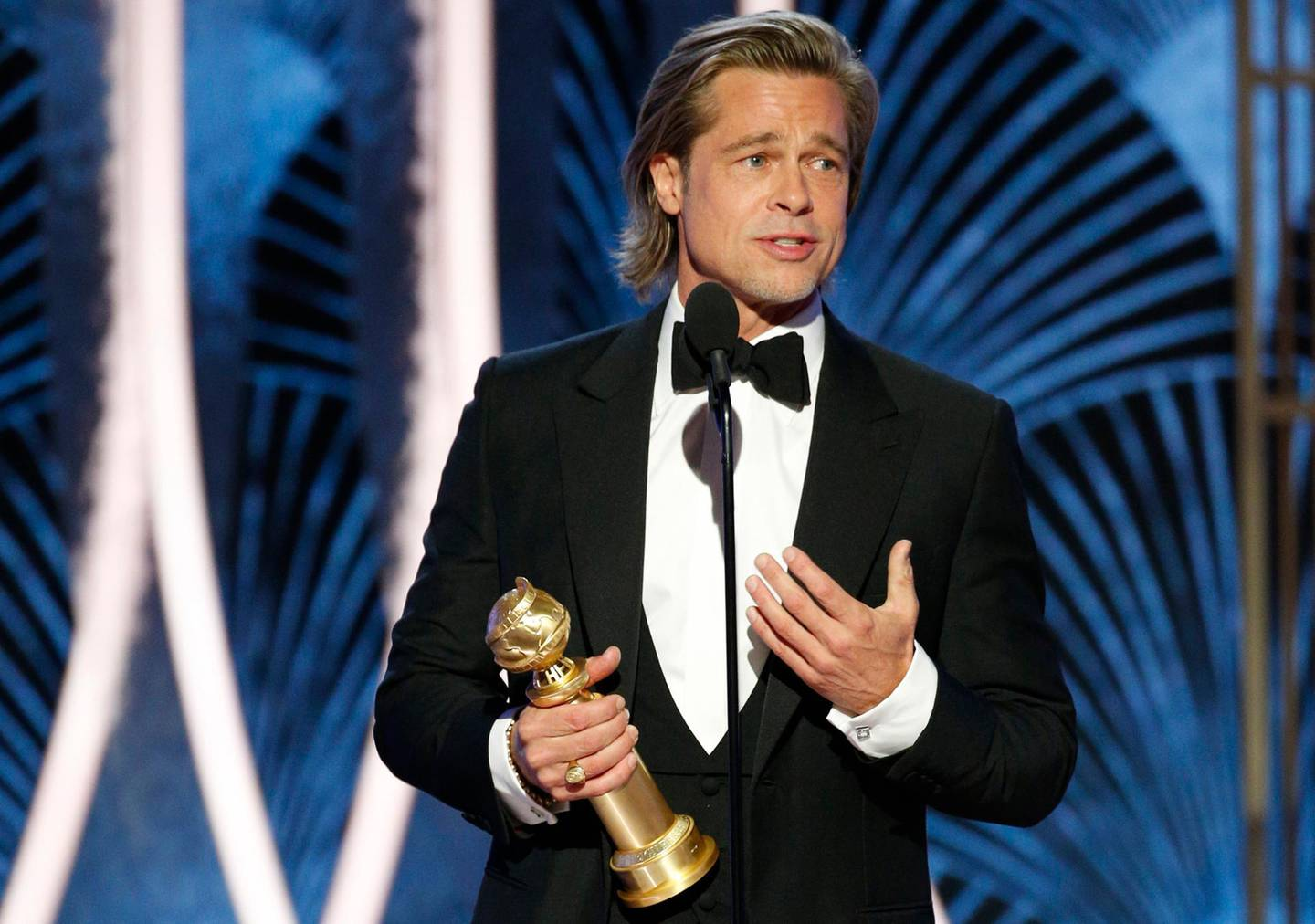"""77th Golden Globe Awards - Show - Beverly Hills, California, U.S., January 5, 2020 - Brad Pitt accepts the award for Best Supporting Actor - Motion Picture for """"Once Upon A Time...In Hollywood.""""    Paul Drinkwater/NBC Universal/Handout via REUTERS For editorial use only. Additional clearance required for commercial or promotional use, contact your local office for assistance. Any commercial or promotional use of NBCUniversal content requires NBCUniversal's prior written consent. No book publishing without prior approval. NO SALES. NO ARCHIVES."""