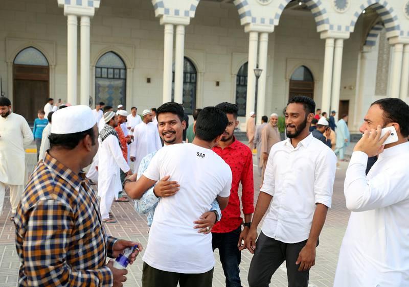 Dubai, United Arab Emirates - August 11, 2019: Early morning Eid prayers take place at Al Farooq Omar Bin Al Khattab Mosque. Sunday the 11th of August 2019. Al Farooq Omar Bin Al Khattab Mosque, Dubai. Chris Whiteoak / The National