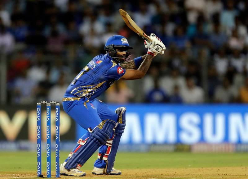 Mumbai Indians Suryakumar Yadav bats during the VIVO IPL T20 cricket match between Mumbai Indians and Sunrisers Hyderabad in Mumbai, India, Thursday, May 2, 2019. (AP Photo/Rajanish Kakade)