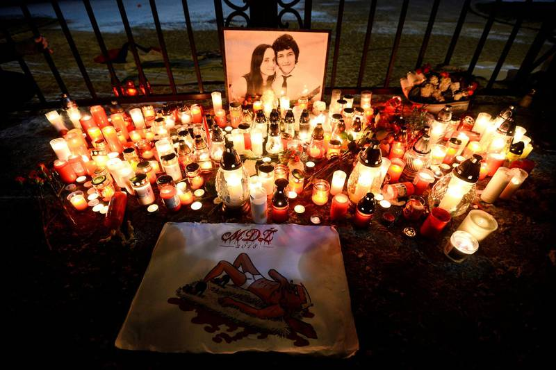 Candles are seen in front of the Government of the Slovak Republic's building during march in honour of murdered Slovak investigative reporter Jan Kuciak and his girlfriend Martina Kusnirova in Bratislava, Slovakia, March 2, 2018. REUTERS/Radovan Stoklasa