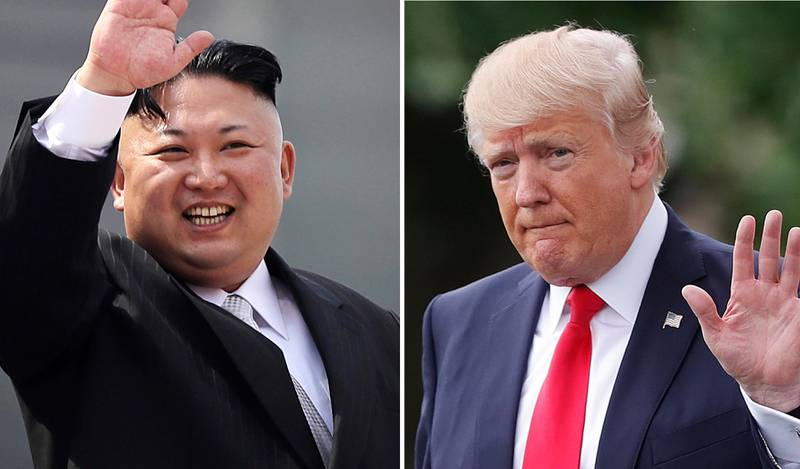 """FILE - This combination of photos show North Korean leader Kim Jong Un on April 15, 2017, in Pyongyang, North Korea, left, and U.S. President Donald Trump in Washington on April 29, 2017. Threatening language between the U.S. and North Korea is flaring. After Trump vowed to respond with """"fire and fury"""" if Pyongyang continued to threaten the U.S., the North's military said it is finalizing a plan to fire four midrange missiles to hit waters near the strategic U.S. territory of Guam. (AP Photo/Wong Maye-E, Pablo Martinez Monsivais, Files)"""