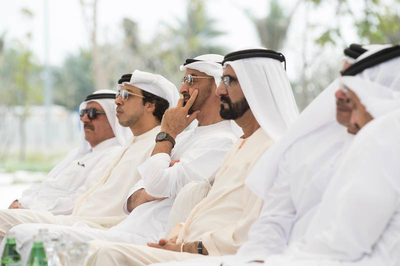 ABU DHABI, UNITED ARAB EMIRATES - March 05, 2017: HH Sheikh Mohamed bin Rashid Al Maktoum, Vice-President, Prime Minister of the UAE, Ruler of Dubai and Minister of Defence (4th L), HH Sheikh Mohamed bin Zayed Al Nahyan, Crown Prince of Abu Dhabi and Deputy Supreme Commander of the UAE Armed Forces (3rd L), HH Sheikh Mansour bin Zayed Al Nahyan, UAE Deputy Prime Minister and Minister of Presidential Affairs (2nd L), and HH Sheikh Hamdan bin Rashid Al Maktoum Deputy Ruler of Dubai and UAE Minister of Finance and Industry (L), attend a UAE cabinet meeting at Wahat Al Karama.  ( Ryan Carter / Crown Prince Court - Abu Dhabi ) --- *** Local Caption ***  20170305RC_C177686.jpg