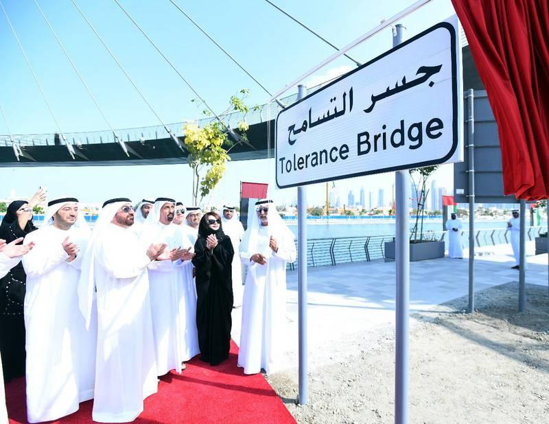 "Nahyan bin Mubarak unveils plaque naming bridge arching over Dubai Water Canal as ""Tolerance Bridge"". WAM"