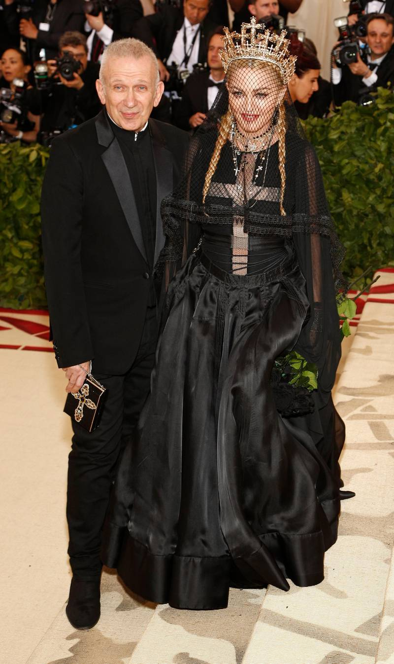 epa06718080 Madonna and Designer Jean Paul Gaultier arrive on the red carpet for the Metropolitan Museum of Art Costume Institute's benefit celebrating the opening of the exhibit 'Heavenly Bodies: Fashion and the Catholic Imagination' in New York, New York, USA, 07 May 2018. The exhibit will be on view at the Metropolitan Museum of Art's Costume Institute from 10 May to 08 October 2018.  EPA-EFE/JUSTIN LANE