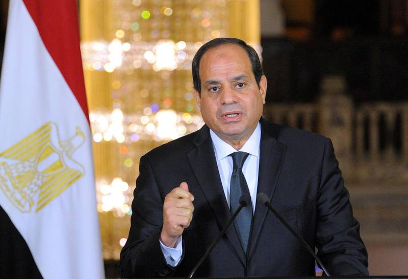 FILE PHOTO: Egyptian President Abdel Fattah al-Sisi gives an address after the gunmen attack in Minya, accompanied by leaders of the Supreme Council of the Armed Forces and the Supreme Council for Police (unseen), at the Ittihadiya presidential palace in Cairo, Egypt, May 26, 2017 in this handout picture courtesy of the Egyptian Presidency.   To match Special Report EGYPT-MEDIA/  The Egyptian Presidency/Handout/File Photo via REUTERS ATTENTION EDITORS - THIS IMAGE WAS PROVIDED BY A THIRD PARTY. EDITORIAL USE ONLY.