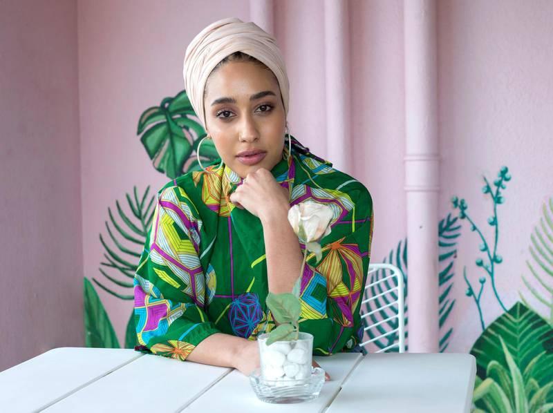 DUBAI, UNITED ARAB EMIRATES - Mariah Idrissi, hijab fashion model at Tania's Teahouse, Dubai.  Leslie Pableo for The National