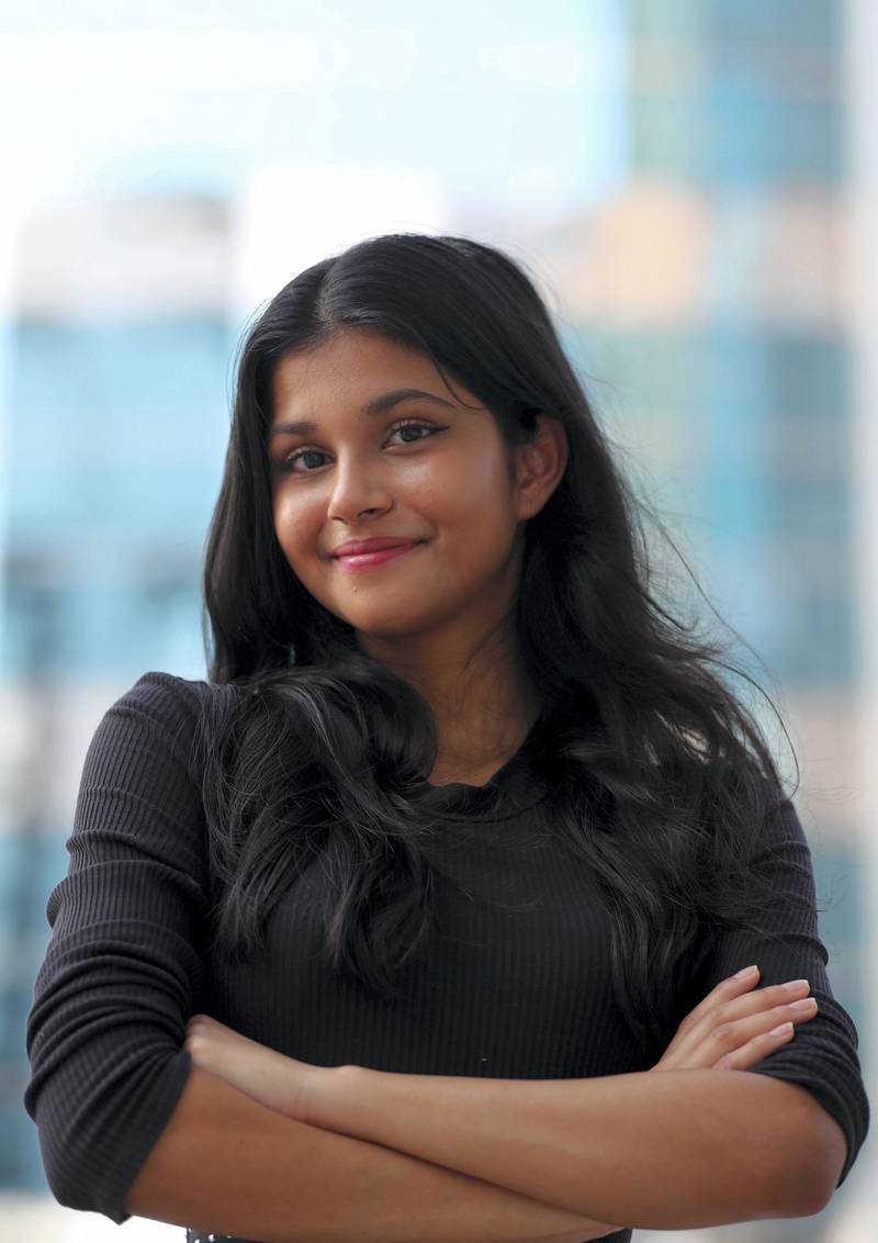 Riya Sharma, a 12th grader at Gems Modern Academy,  has won The Diana Award for her social and environmental projects in Dubai on June 28th, 2021. Chris Whiteoak / The National.  Reporter: Anam Rizvi for News