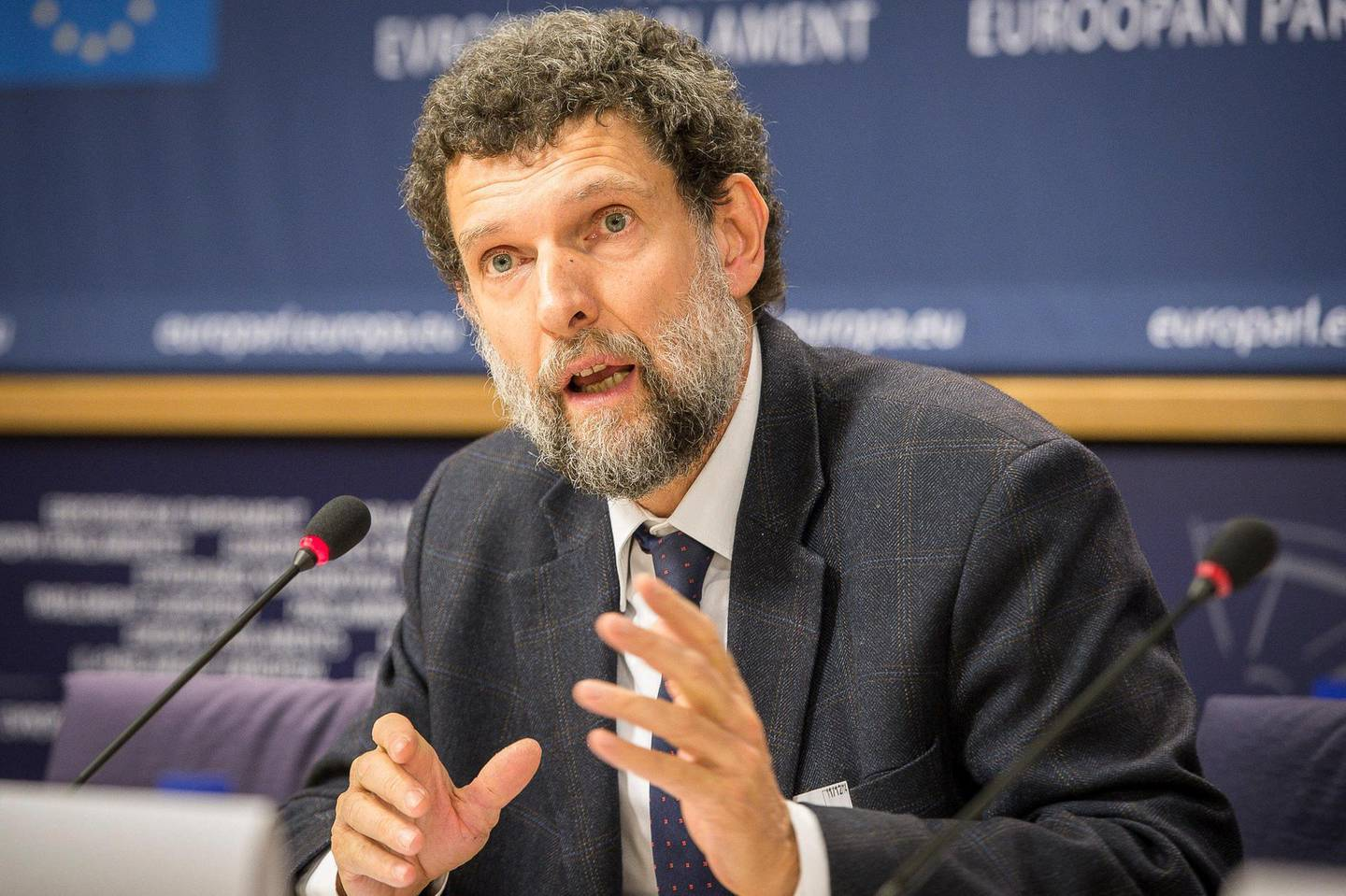 ECBXBH Brussels, Belgium. 11th December, 2014. Osman Kavala, Chair of the cultural organisation Anadolu Kultur in Turkey holds press conference at European Parliament headquarters in Brussels, Belgium on 11.12.2014 International Peace and Reconciliation Initiative issued the Report on Turkey-Kurds Peace Process. Credit:  ZUMA Press, Inc./Alamy Live News