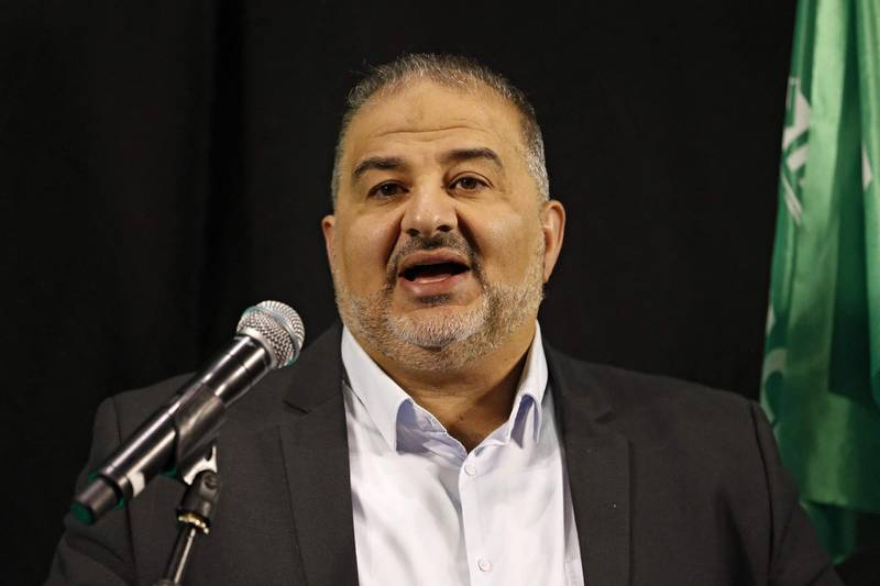 (FILES) In this file photo taken on April 1, 2021 Mansour Abbas, head of Israel's conservative Islamic Ra'am party, speaks during a press conference in the northern city of Nazareth. Arab Israeli party Ra'am joins coalition aiming to oust Israeli Prime Minister Netanyahu. / AFP / Ahmad GHARABLI