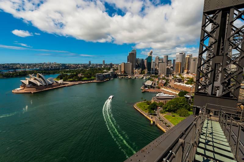 15 Feb 2012 --- The Sydney Opera House and the Circular Quay seen from the Sydney Harbour Bridge, Sydney, New South Wales, Australia --- Image by © Blaine Harrington III/Corbis
