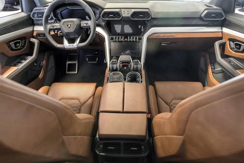 DUBAI, UNITED ARAB EMIRATES. 22 JANUARY 2018. The new Lamborghini Urus SUV at the Lamborghini showroom on Sheikh Zayed Rd. (Photo: Antonie Robertson/The National) Journalist: Adam Workman. Section: Motoring.