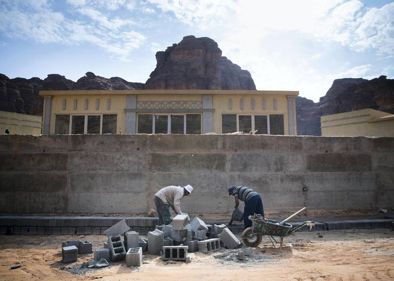 RIYADH, KINGDOM OF SAUDI ARABIA. 29 SEPTEMBER 2019. Shaden Desert Resort in Al Ula is undergoing expansion where new rooms and suites are being built to accomodate more toursits coming in the city.(Photo: Reem Mohammed/The National)Reporter:Section: