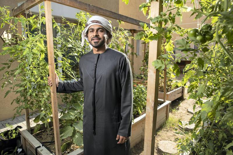 DUBAI, UNITED ARAB EMIRATES. 12 JANUARY 2021. Mohammed Al Dhuhouri, founder of Local Roots, a company that encourages sustainable organic farming in his own backyard organic food garden. (Photo: Antonie Robertson/The National) Journalist: David Tusing. Section: Business.