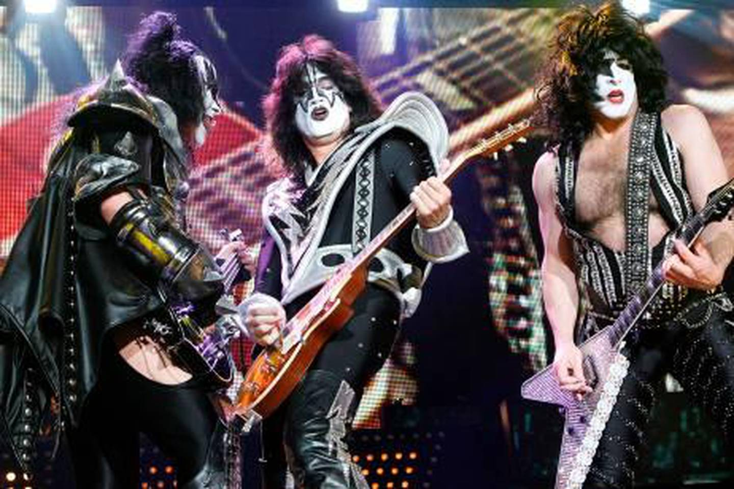 LONDON, UNITED KINGDOM - MAY 12: Gene Simmons, Tommy Thayer and Paul Stanley of KISS perform at the Wembley Arena on May 12, 2010 in London, England. (Photo by Jo Hale/Getty Images)