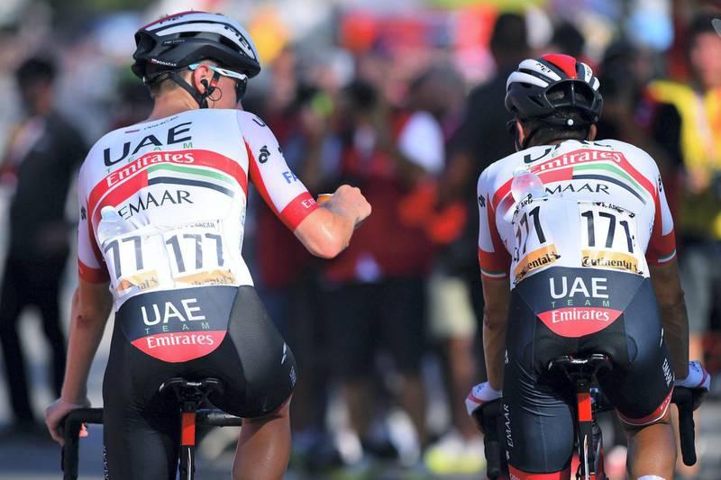 Vuelta Espana 2019 - 74th Edition - 2nd stage Benidorm - Calpe 199,6 km - 25/08/2019 - Tadej Pogacar (SLO - UAE - Team Emirates) - Fabio Aru (ITA - UAE - Team Emirates) - photo Dario Belingheri/BettiniPhoto©2019