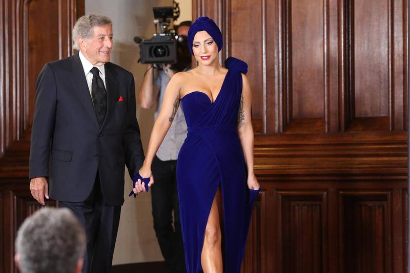 """BRUSSELS, BELGIUM - SEPTEMBER 22: Artists Tony Bennett and Lady Gaga attend a press conference about the album """"cheek to cheek"""" at City Hall on September 22, 2014 in Brussels, Belgium. (Photo by Mark Renders/Getty Images)"""