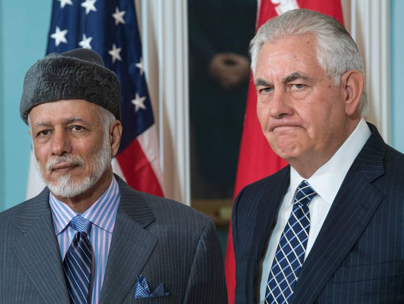 US Secretary of State Rex Tillerson(R) answers a question from the media standing with the Foreign Minister of Oman, Yusuf bin Alawi-bin Abdullah, inside the Treaty Room at US Department of State July 21, 2017, in Washington, DC. / AFP PHOTO / PAUL J. RICHARDS