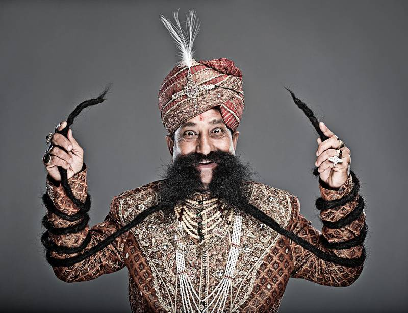 Ram Singh Chauhan - Longest Moustache Guinness World Records 2010 Photo Credit: John Wright/Guinness World Records 2010 Location: Rome, Italy