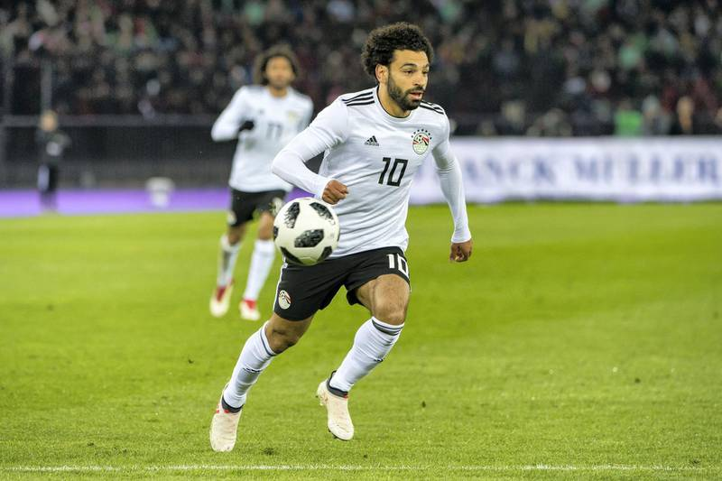 ZURICH, SWITZERLAND - MARCH 23: #10 Mohamed Salah of Egypt in action during the International Friendly between Portugal and Egypt at the Letzigrund Stadium on March 23, 2018 in Zurich, Switzerland. (Photo by Robert Hradil/Getty Images)