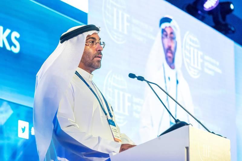 ABU DHABI, UNITED ARAB EMIRATES. 06 November 2018. The IIF MENA Summit held at the Rosewood Hotel in Abu Dhabi. Opening day, session one. H.E. Ahmed Al Sayegh addresses the summit. (Photo: Antonie Robertson/The National) Journalist: Dania Al Saadi. Section: Business.