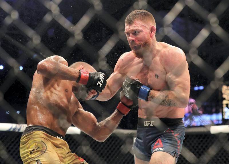 Abu Dhabi, United Arab Emirates - September 07, 2019: Lightweight bout between Edson Barboza and Paul Felder (blue shorts, winner) in the Main card at UFC 242. Saturday the 7th of September 2019. Yas Island, Abu Dhabi. Chris Whiteoak / The National