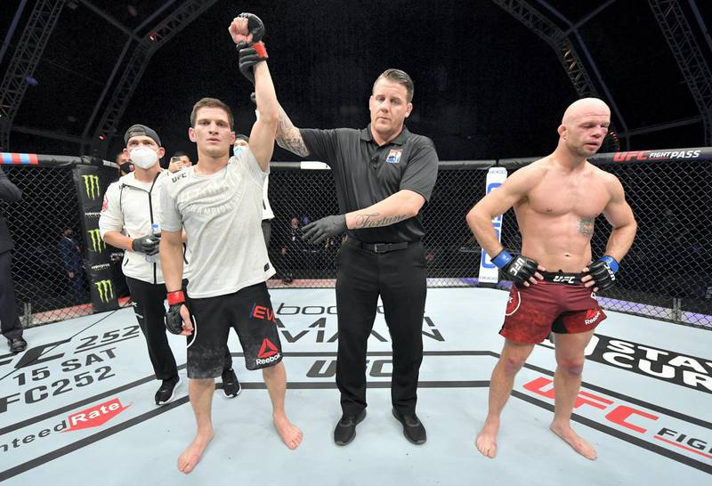 ABU DHABI, UNITED ARAB EMIRATES - JULY 26: Movsar Evloev of Russia celebrates after his victory over Mike Grundy of England in their featherweight fight during the UFC Fight Night event inside Flash Forum on UFC Fight Island on July 26, 2020 in Yas Island, Abu Dhabi, United Arab Emirates. (Photo by Jeff Bottari/Zuffa LLC via Getty Images) *** Local Caption *** ABU DHABI, UNITED ARAB EMIRATES - JULY 26: Movsar Evloev of Russia celebrates after his victory over Mike Grundy of England in their featherweight fight during the UFC Fight Night event inside Flash Forum on UFC Fight Island on July 26, 2020 in Yas Island, Abu Dhabi, United Arab Emirates. (Photo by Jeff Bottari/Zuffa LLC via Getty Images)