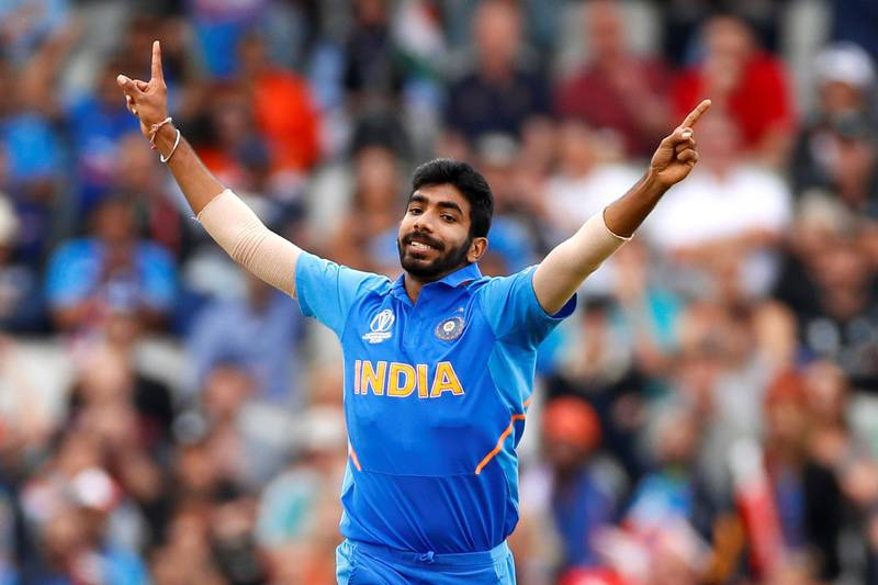 Cricket - ICC Cricket World Cup Semi Final - India v New Zealand - Old Trafford, Manchester, Britain - July 9, 2019   India's Jasprit Bumrah celebrates taking the wicket of New Zealand's Martin Guptill   Action Images via Reuters/Jason Cairnduff
