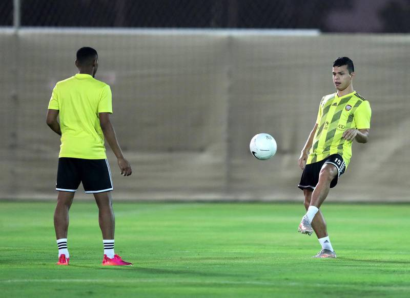 UAE's Fabio De Lima during training before the game between the UAE and Vietnam in the World cup qualifiers at the Zabeel Stadium, Dubai on June 14th, 2021. Chris Whiteoak / The National.  Reporter: John McAuley for Sport