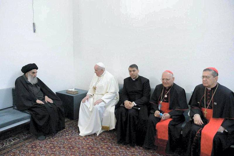 Pope Francis meeting with Iraq's top Shi'ite cleric, Grand Ayatollah Ali al-Sistani, in Najaf. Courtesy of the Vatican