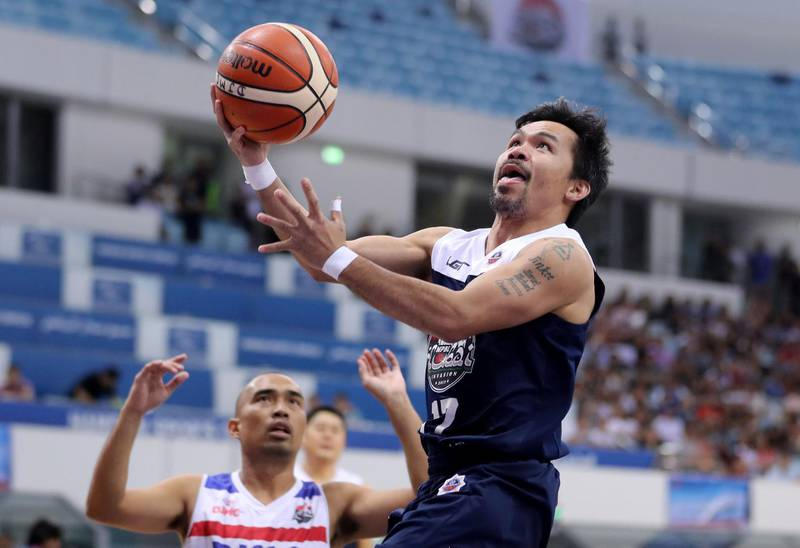 Dubai, United Arab Emirates - September 28, 2019: Dubai Invasion 2019, MPBL event, headlined by Manny Pacquiao in an All Star game. Saturday the 28th of September 2019. Hamden Sports Complex, Dubai. Chris Whiteoak / The National