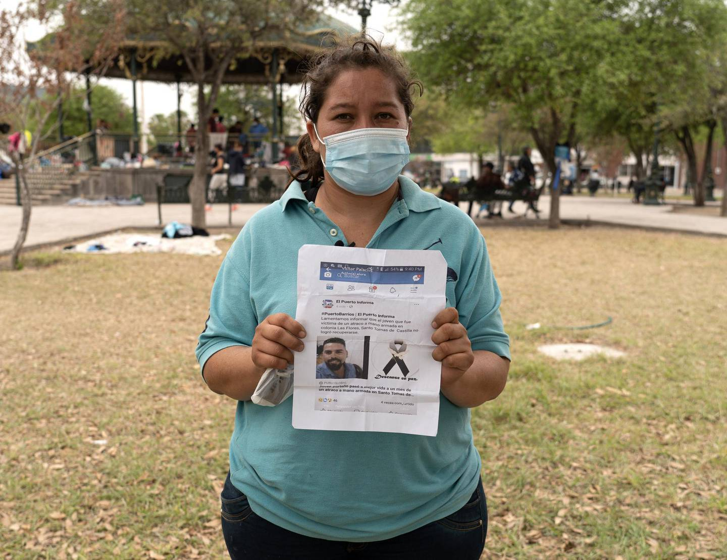 Sylvia Ibarra holds a picture of her husband who was killed by gangs in Guatemala. She and her daughter have already tried entering the US once, only to be turned away before being able to file asylum. She hopes to try again soon. Willy Lowry/ The National